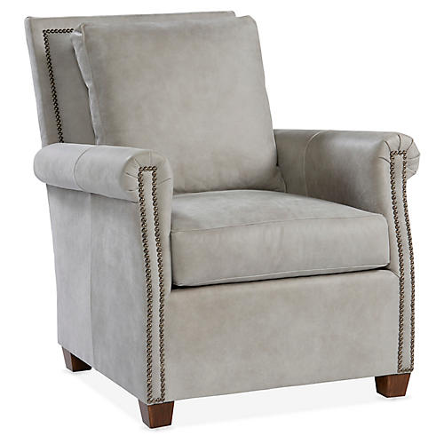 Levi Club Chair, Gray Leather
