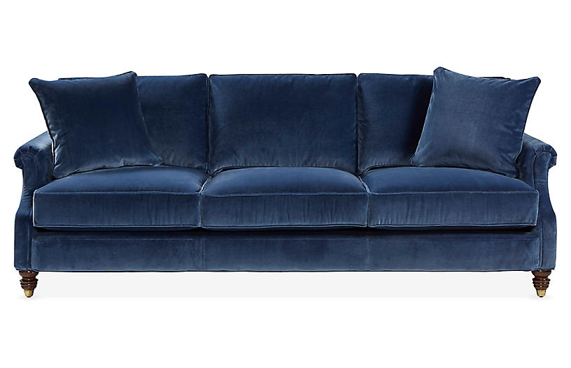 Webster Sofa, Marine Blue