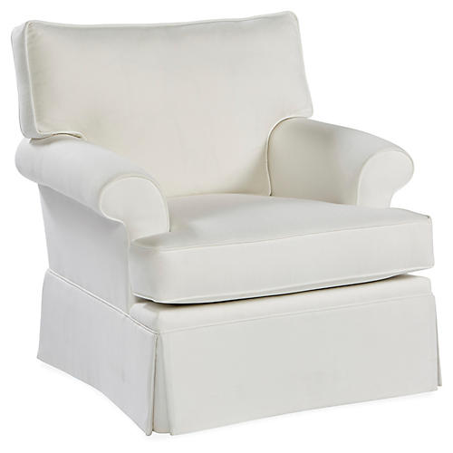 Montrose Swivel Club Chair, White Crypton