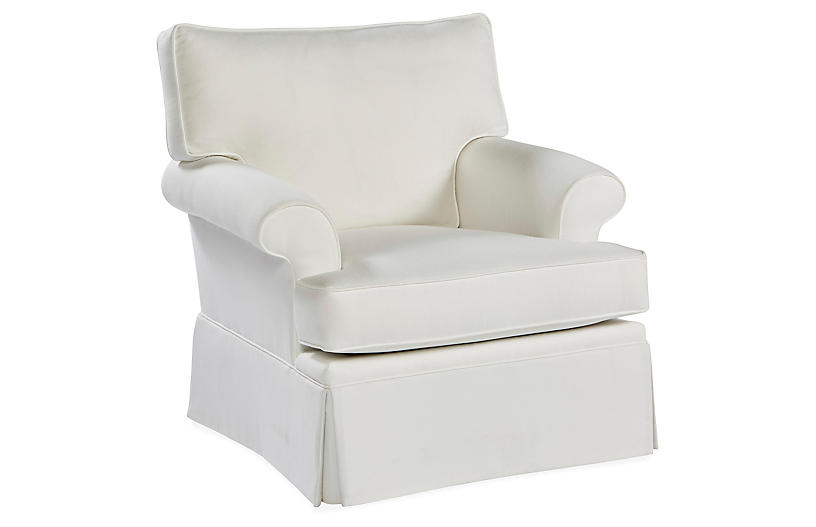 Montrose Swivel Chair, White Crypton