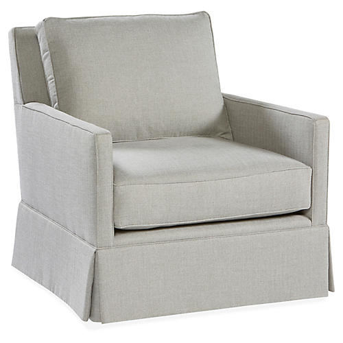 Auburn Swivel Club Chair, Stone Crypton