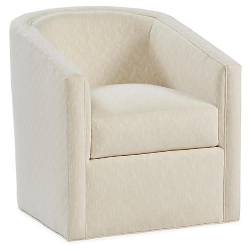 Monica Swivel Club Chair, Parchment Crypton