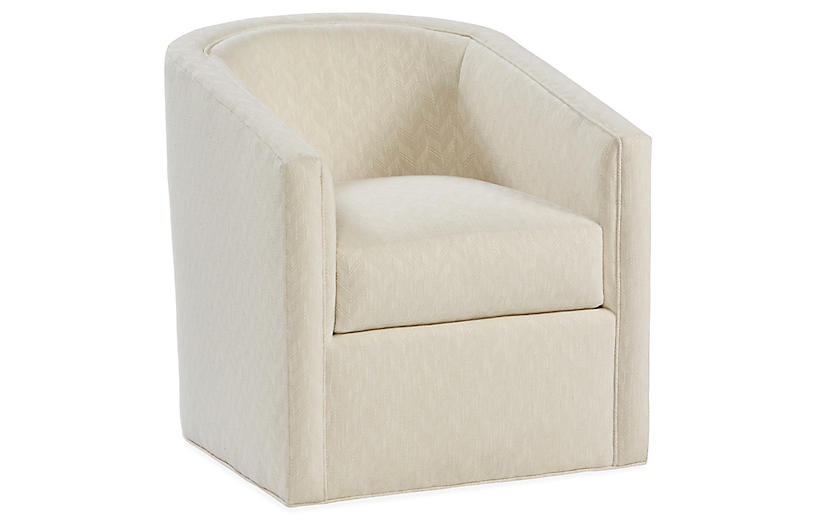 Monica Swivel Club Chair, Parchment Crypton