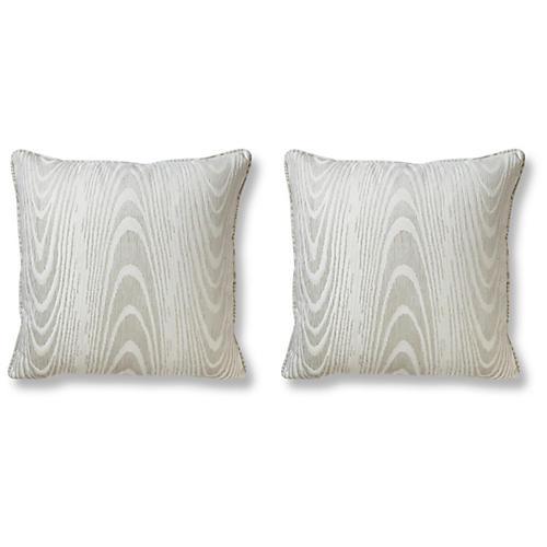 S/2 Faux Bois Pillows, Alabaster