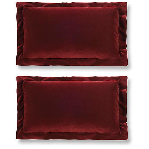 S/2 Lady Elise 12x20 Lumbar Pillows, Garnet