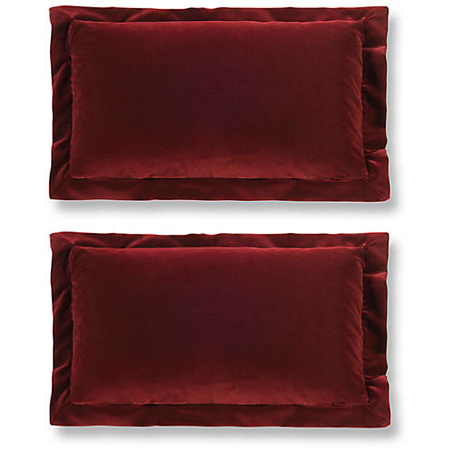 S/2 Lady Elise 12x20 Lumbar Pillows, Garnet