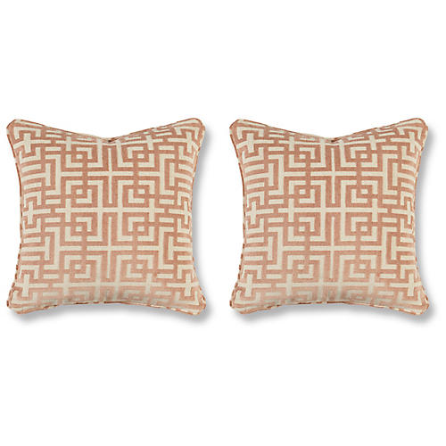 S/2 Asian Trail Pillows, Blush