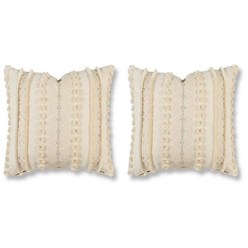 S/2 Handira Pillows, Tusk Linen