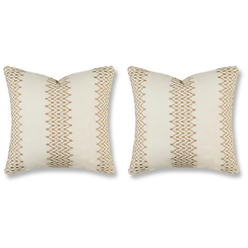 S/2 Trail 20x20 Pillows, Grain Linen