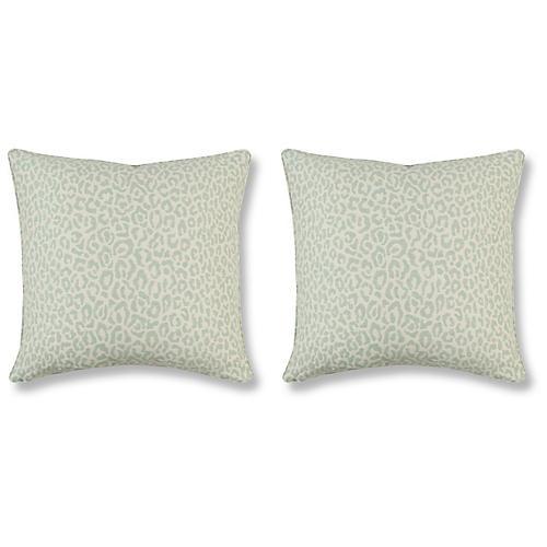 S/2 Felino 20x20 Pillows, Aquamarine Linen