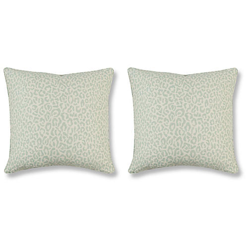 S/2 Felino Pillows, Aquamarine Linen