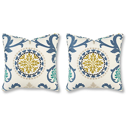 S/2 Banyan 20x20 Pillows, Green/Blue Linen