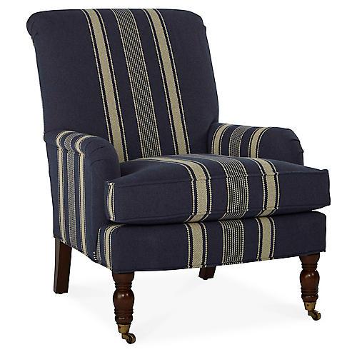 Abigail Club Chair, Blue Stripe