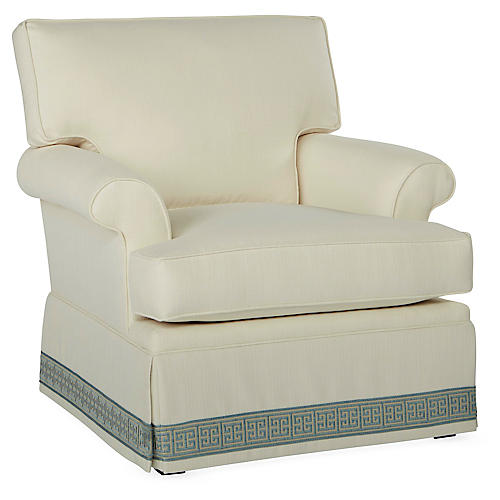 Montrose Swivel Club Chair, Ivory Crypton