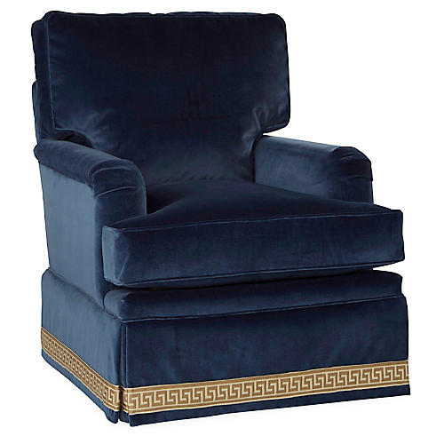 Winston Swivel Club Chair, Mariner Velvet
