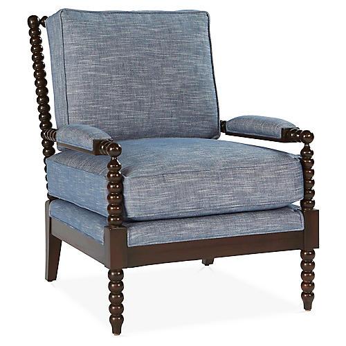 Bankwood Spindle Chair, Chambray Crypton