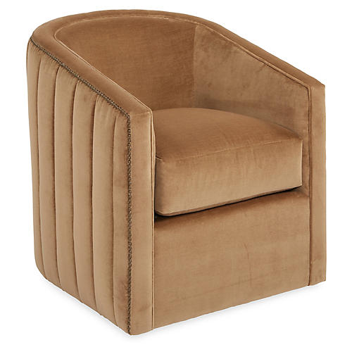 Maxwell Swivel Club Chair, Café Velvet