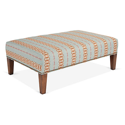 Cotswold Ottoman, Teal/Multi