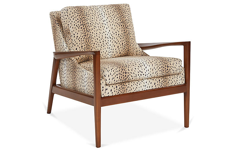 Ebonwood Accent Chair, Tan/Black Linen
