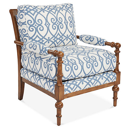 Lily Accent Chair, White/Blue Linen