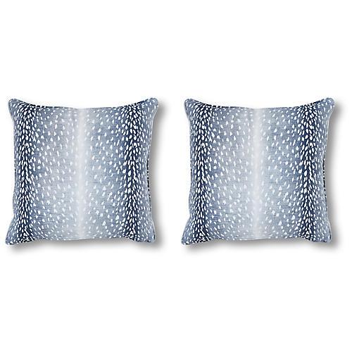 S/2 Doeskin 20x20 Pillows, Indigo Linen