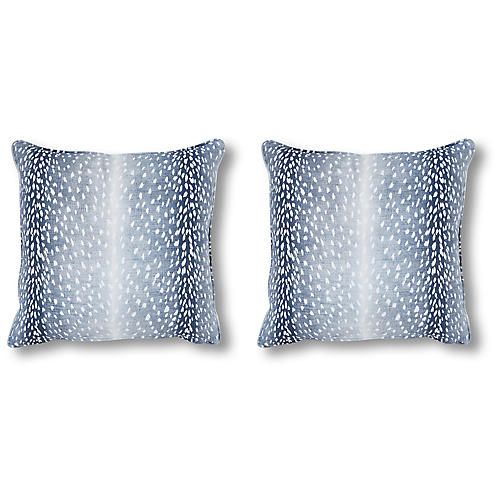 S/2 Doeskin Pillows, Indigo Linen