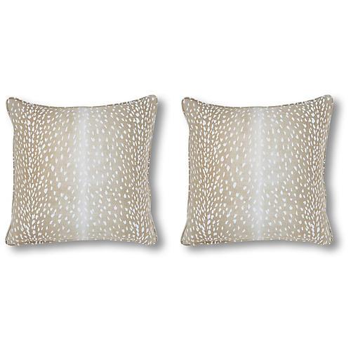 S/2 Doeskin Pillows, Tan Linen