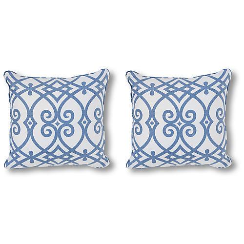 S/2 Contessa 20x20 Pillows, Blue/White Linen