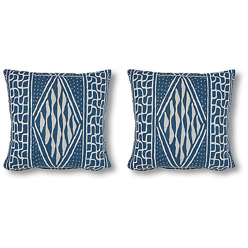 S/2 Knox 20x20 Pillows, Denim/White Linen