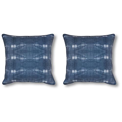 S/2 Kubu 20x20 Pillows, Indigo