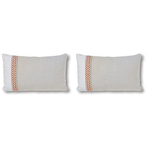 S/2 Nubby 12x20 Pillows, Natural