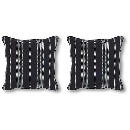 S/2 Finn 20x20 Pillows, Onyx