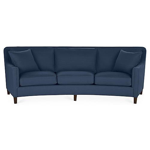 Cayman Curved Sofa, Indigo Linen