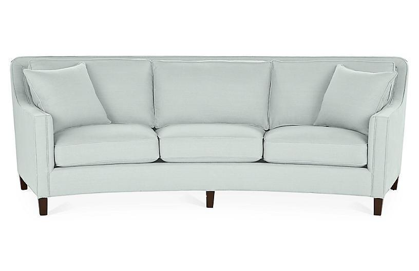 Cayman Curved Sofa, Seafoam Linen
