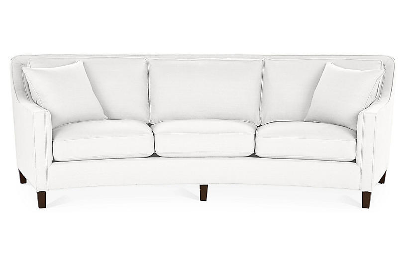 Cayman Curved Sofa, White Linen