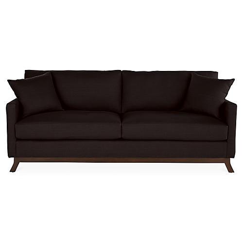 Edwards Sofa, Black Linen