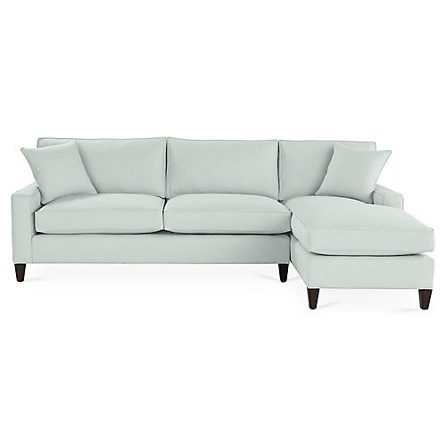 Liza Right-Facing Sectional, Seafoam Linen