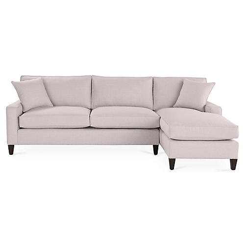 Liza Right-Facing Sectional, Quartz Linen