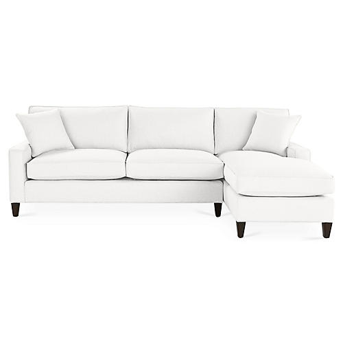 Liza Right-Facing Sectional, White Linen