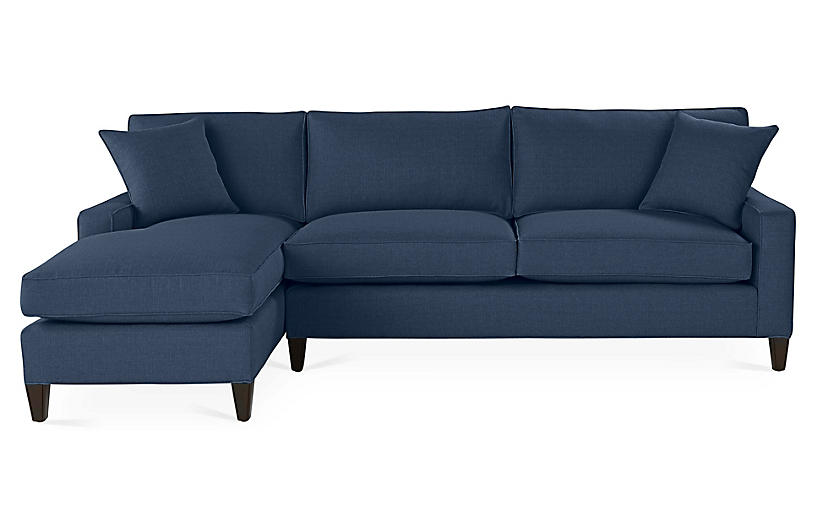 Liza Left-Facing Sectional, Indigo Linen