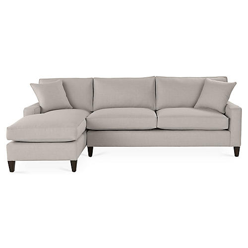 Liza Left-Facing Sectional, Gray Linen