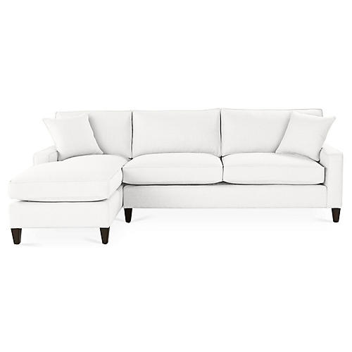 Liza Left-Facing Sectional, White Linen