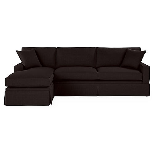 Liza LF Skirted Sectional, Black Linen
