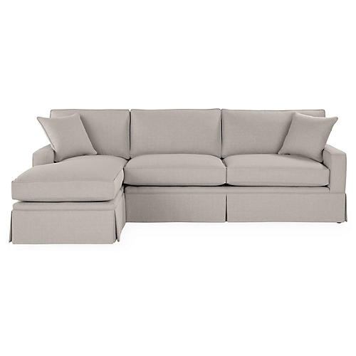Liza LF Skirted Sectional, Gray Linen