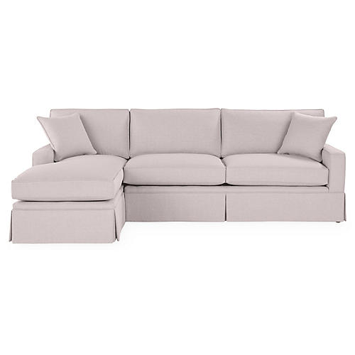 Liza LF Skirted Sectional, Quartz Linen