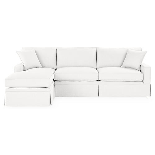 Liza LF Skirted Sectional, White Linen