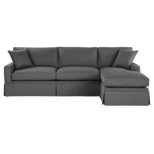 Liza RF Skirted Sectional, Charcoal Crypton