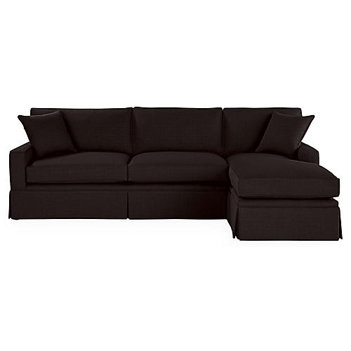 Liza RF Skirted Sectional, Black Linen