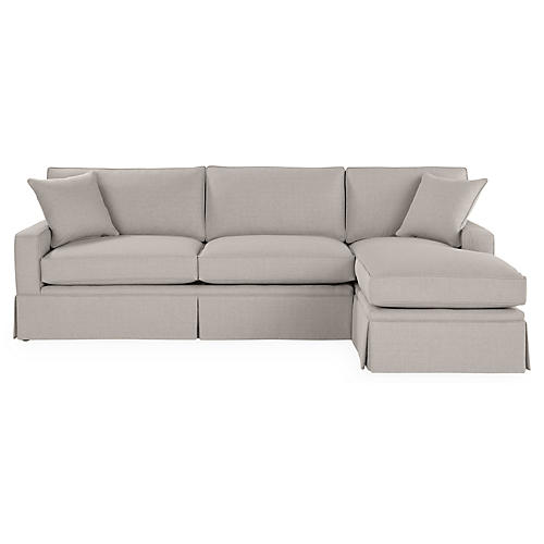 Liza RF Skirted Sectional, Gray Linen