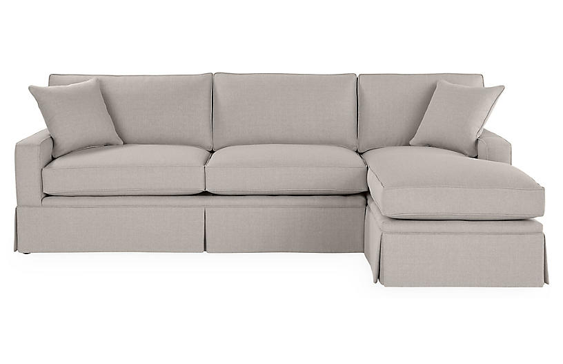 Liza Rf Skirted Sectional Gray Linen Sectionals